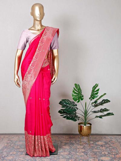 Beautiful magenta raw silk wedding wear saree