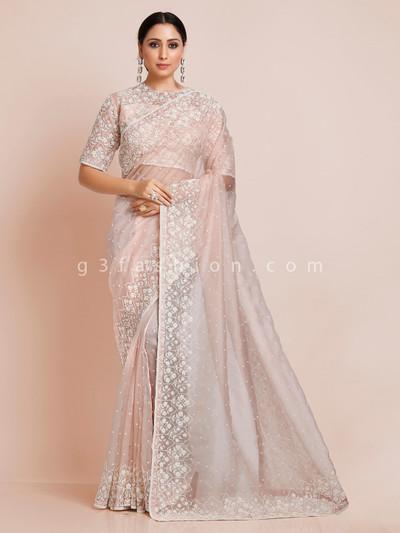 Beautiful peach organza tissue silk saree with readymade blouse