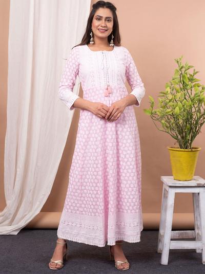 Beautiful pink cotton printed causal wear anarkali suit