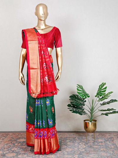 Beautiful wedding patola silk green and red saree