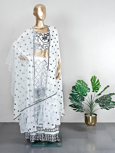 Beautiful white sharara suit for wedding