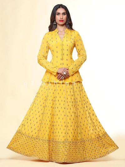 Beautiful yellow chiffon festive wear lehenga suit