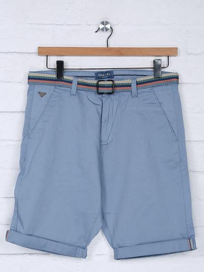 Beevee light blue solid cotton slim fit short