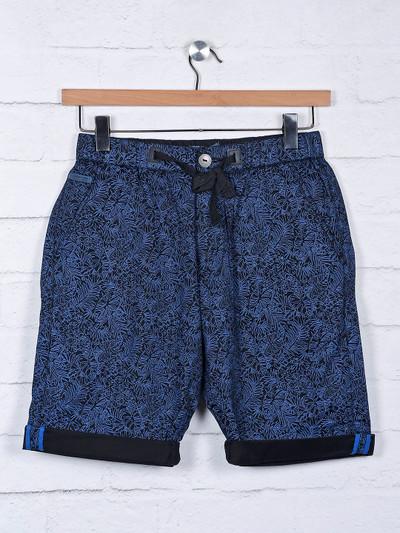 Beevee presented slim fit printed navy shorts