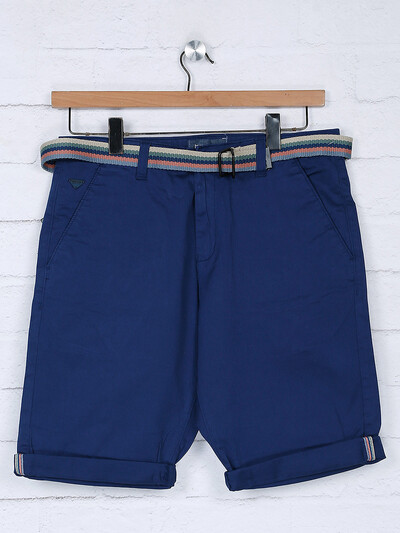 Beevee royal blue cotton fabric short