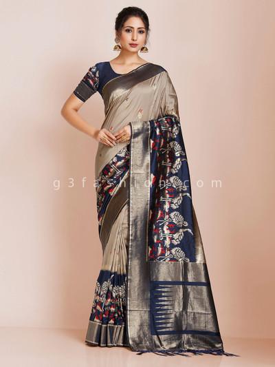 Beige and blue zari weaving saree in banarasi silk