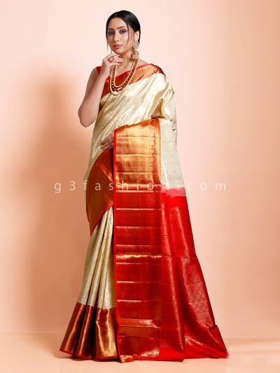Beige and maroon exclusive kanjivaram silk saree