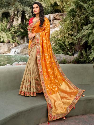 Beige and orange half n half wedding wear saree