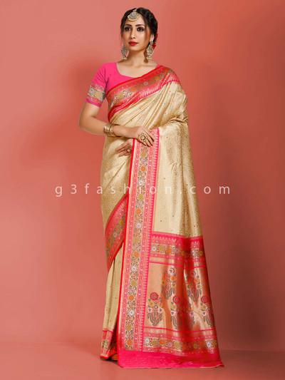 Beige art banarasi silk wedding days saree