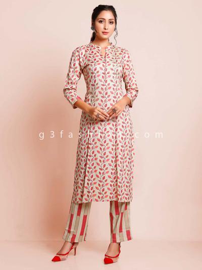 Beige colour cotton festive wear suit
