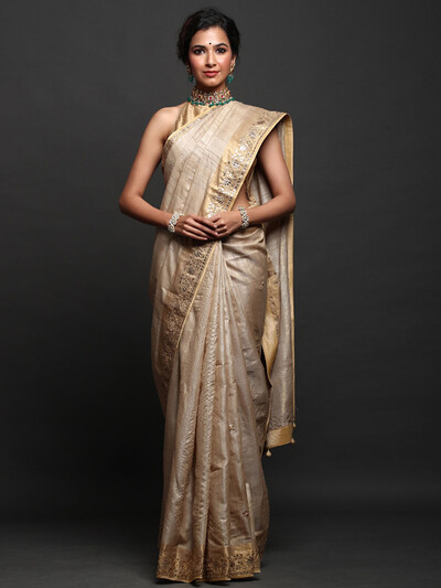 Beige Colour Party Wear Silk Saree