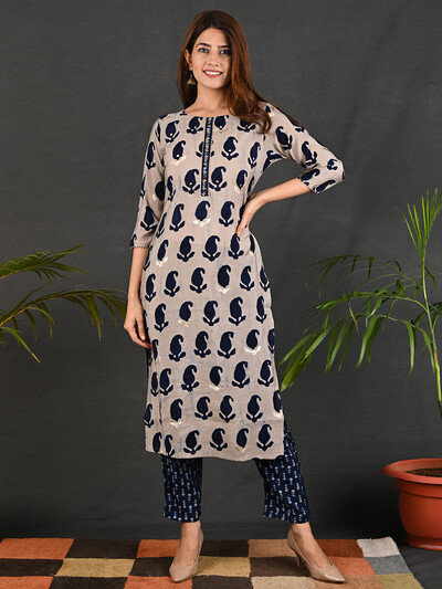 Beige cotton printed causal wear pant suit
