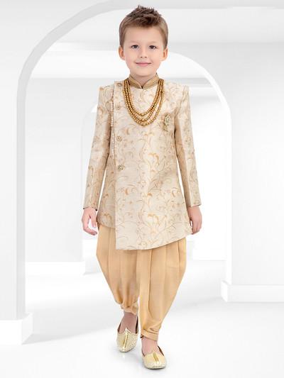 Beige cotton silk fabric indo western