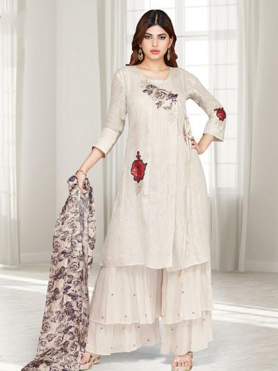 Beige cotton silk printed punjabi sharara suit