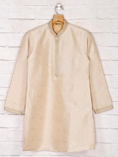 Beige cotton silk vented hem kurta suit