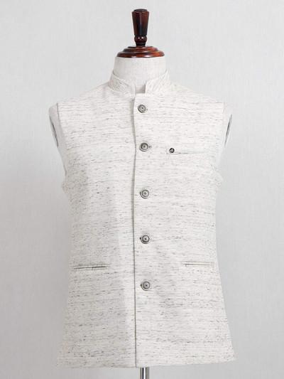 Beige cotton waistcoat for mens