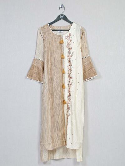 Beige festive wear cotton kurti