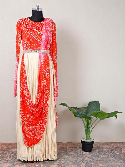 Beige georgette printed party wear gown
