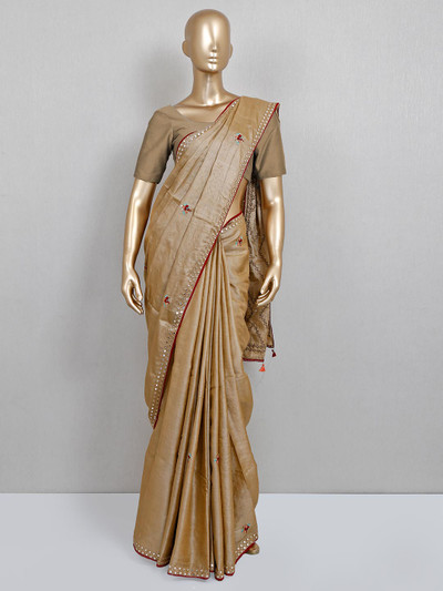 Beige handloom cotton saree for party session
