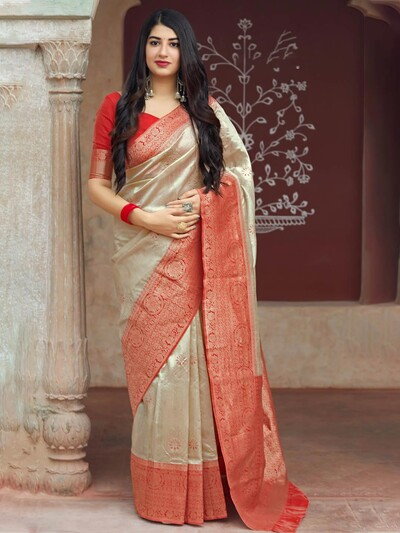 Beige hue classic wedding saree