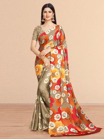 Beige hue pretty festive saree in crepe