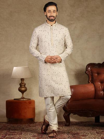 Beige hue printed linen kurta suit