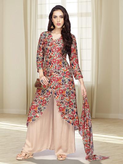 Beige hue printed punjabi palazzo suit in cotton