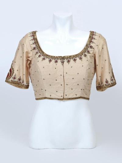 Beige raw silk designer blouse for women