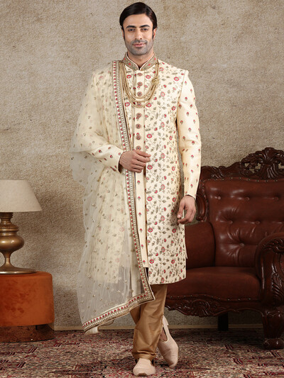 Beige raw silk fabric sherwani special for wedding