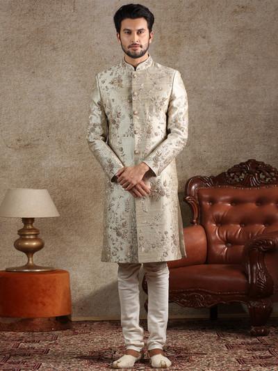 Beige raw silk special sherwani for groom