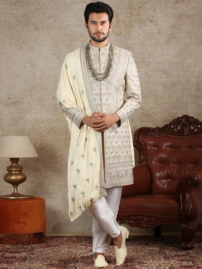 Beige silk fabric sherwani for wedding