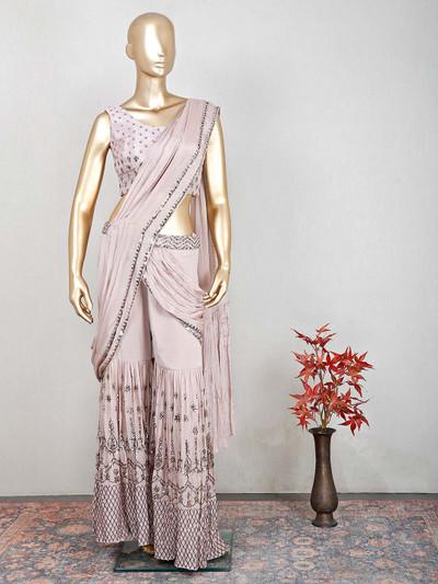 Beige silk wedding wear salwar kameez for women