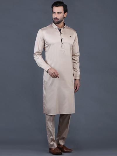 Beige solid cotton pathani suit