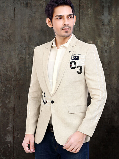 Beige terry rayon solid party blazer