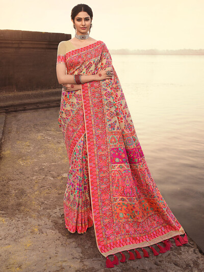 Beige wedding occasions banarasi kora silk saree