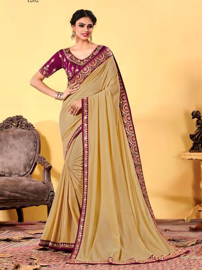 Beige wedding wear dola silk sari