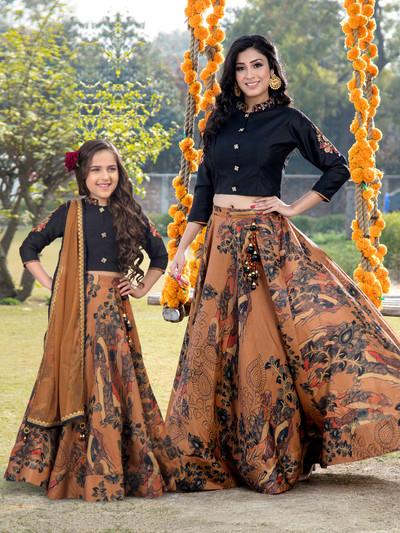Black and brown printed mother daughter matching lehenga choli in cotton