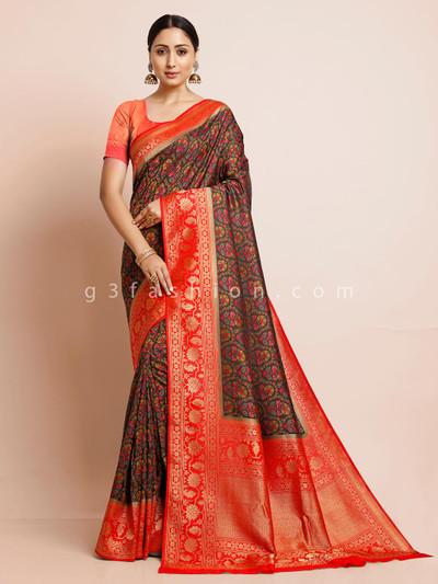 Black and red pashmina silk saree
