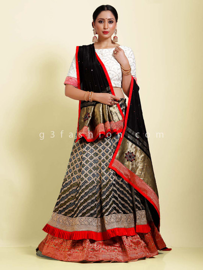 Black and white bandhej designer half n half lehenga choli