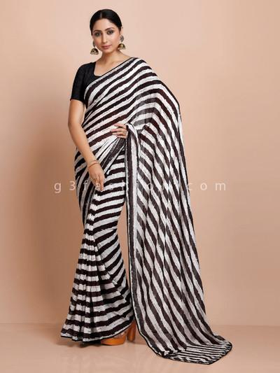 Black and white celebrity style georgette saree in stripe