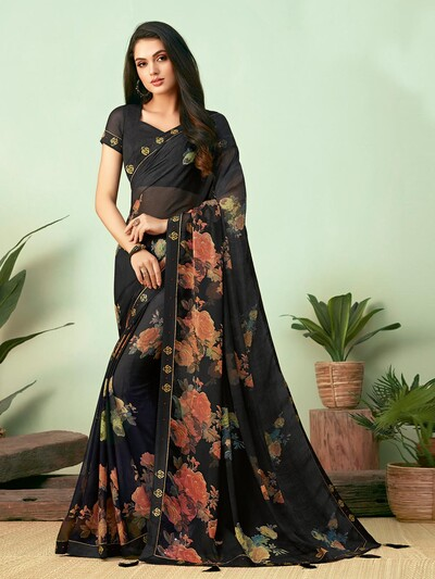 Black chiffon floral printed saree for festive occasions