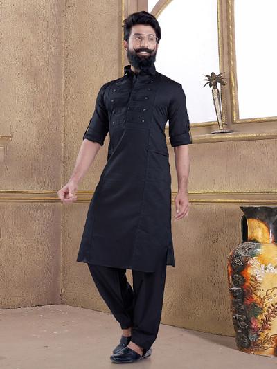 Black color pathani suit