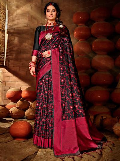 Black colored banarasi silk saree for wedding