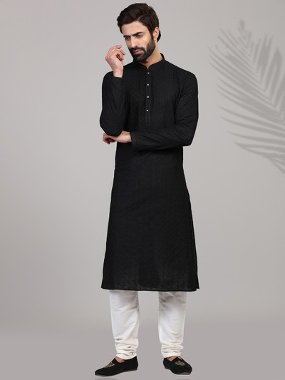 Black cotton kurta suit with chikan thread work