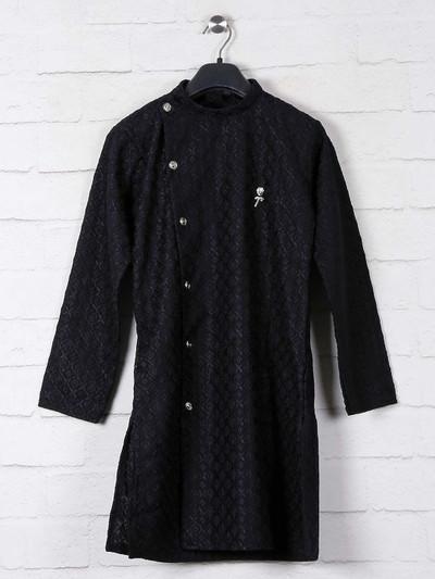 Black cotton lucknowi thread weaving kurta suit