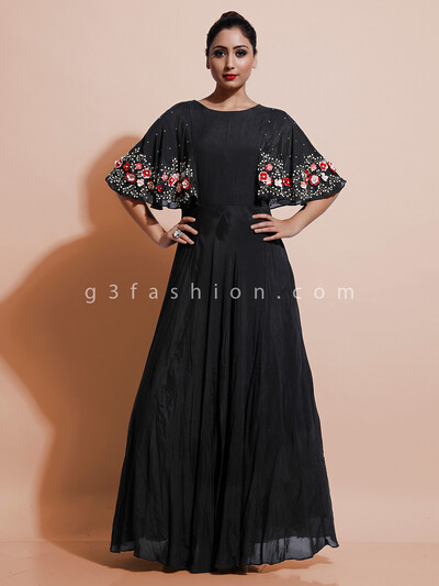Black cotton party wear dress in cotton silk
