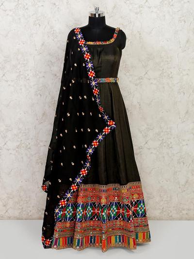 Black cotton silk anarkali suit for wedding