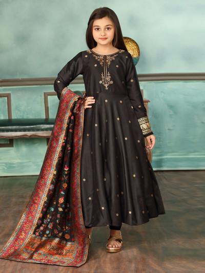 Black cotton silk round neck anarkali suit