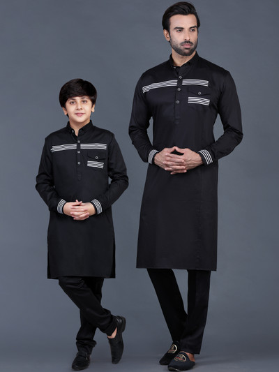 Black cotton solid father and son pathani suit for festive