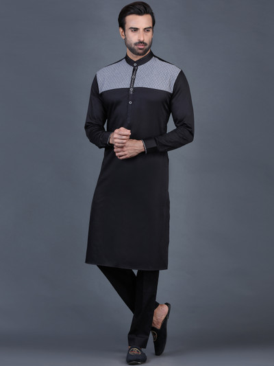 Black cotton solid pathani suit